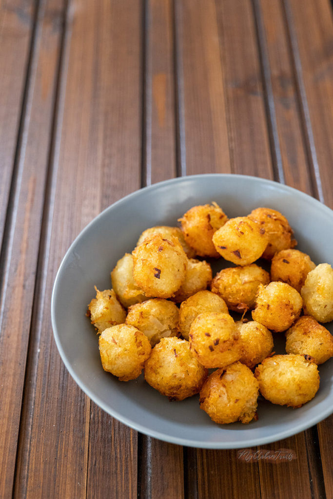 A plate of ready homemade tater tots from our homemade tater tots recipe