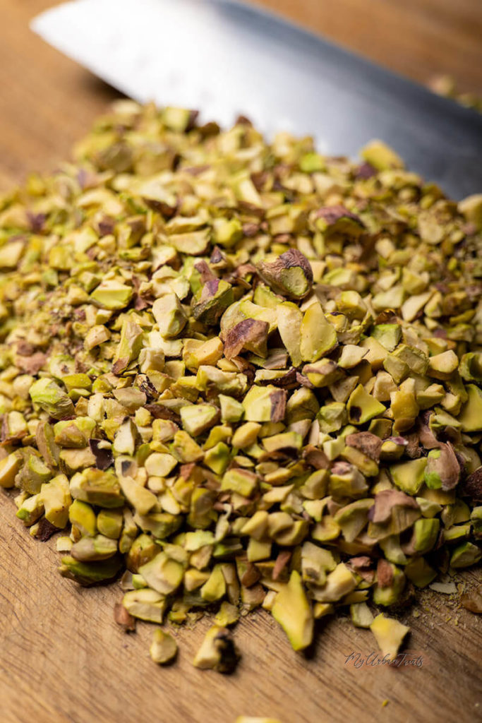 Roughly chopped Pistachios for Layali Lubnan. Lightly toasted for maximum flavour