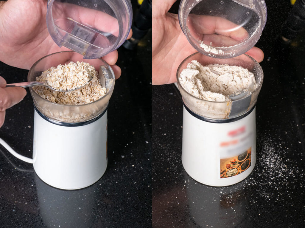 Making Oatmeal flour at home in a coffee grinder