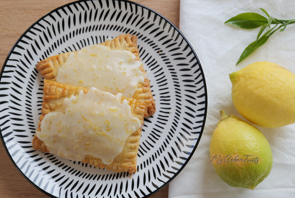 Two Pop Tarts with lemon drizzle made fresh at home. Recipe for Pop Tarts